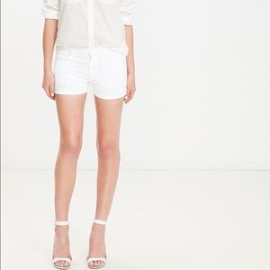 Mother 27 Drop Out Cuff Shorts White Wave